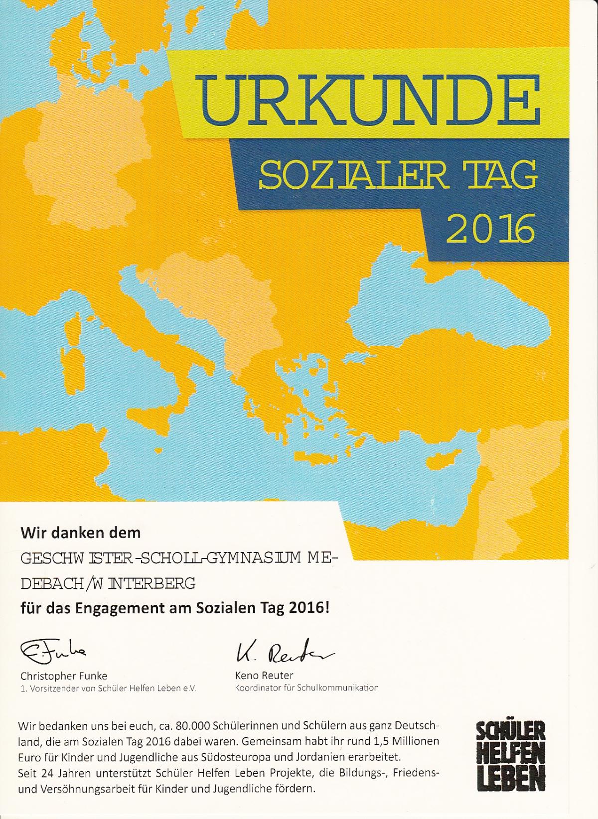 Teilnahme am sozialen Tag 2016